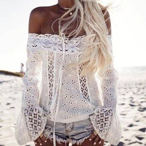 Tops - Lace Embroidered Bell-sleeve Top